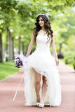 Outdoor Bride smiling Stock Photography
