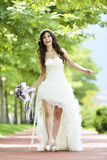 Outdoor Bride smiling Royalty Free Stock Image