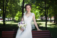 Outdoor Bride. Wedding Day. Happy women Stock Photo