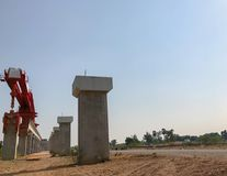 Outdoor bridge under construction site. In Thailand Royalty Free Stock Photo