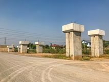 Outdoor bridge under construction site. In Thailand Royalty Free Stock Photography