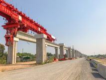 Outdoor bridge under construction site. In Thailand Stock Image