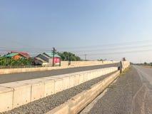 Outdoor bridge under construction site. In Thailand Stock Photo