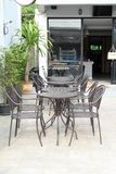 Outdoor brown steel furniture. On concrete floor Royalty Free Stock Photo