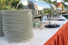Outdoor buffet. Restaurant at tropical Royalty Free Stock Photos