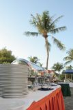 Outdoor buffet. Restaurant at tropical Stock Photography