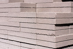 Outdoor building materials: stacked concrete masonry. Outdoor building materials - stacked concrete masonry pavers Stock Image