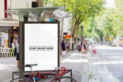 Outdoor bus stop advertisement billboard mockup. Outdoor bus stop advertisement billboard in Paris street mockup vector illustration