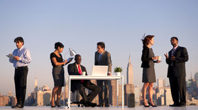 Outdoor Business Meeting in New York City Royalty Free Stock Photos