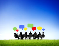 Outdoor Business Meeting. With speech bubbles stock images