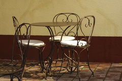 Outdoor cafe. Cafe in sunny day in city downtown Royalty Free Stock Image