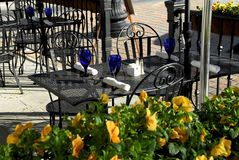 Outdoor Cafe. Outdoor street cafe in a small town square royalty free stock image