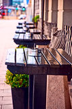 Outdoor cafe. Typical generic outdoor cafe seating  Stockholm Sweden with tables and chairs on the sidewalk Stock Photo