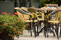 Outdoor Cafe. Empty chairs at an outdoor cafe royalty free stock photos