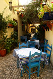 Outdoor cafe. In old greek town royalty free stock images