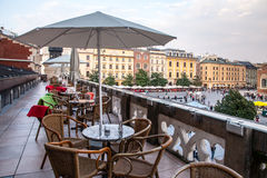 Outdoor cafe above Sukiennice in Krakow Poland Stock Images