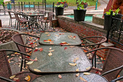 Outdoor cafe in autunm. Outdoor cafe in autunm Sherbrooke Quebec Royalty Free Stock Photo