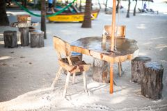 Outdoor cafe on the beach i Royalty Free Stock Photo