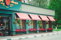 Outdoor cafe with a beautiful modern exterior stock images