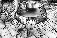 Outdoor cafe, black and white image. Stock Photos