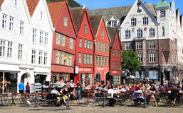Outdoor cafe on Bryggen in Bergen, Norway Royalty Free Stock Photo
