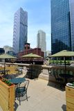 Outdoor cafe on the Chicago River Walk. In the loop royalty free stock photography