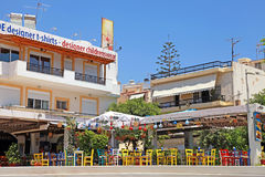 Outdoor cafe with colorful chairs, Greece stock image