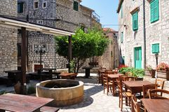 Outdoor cafe, croatia. Outdoor cafe in sibenik, croatia Royalty Free Stock Photos