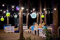 Outdoor cafe in the evening Royalty Free Stock Photos