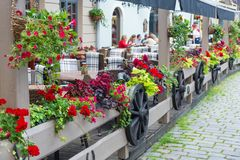 Outdoor cafe with flowers decoration Royalty Free Stock Image