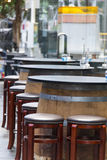 Outdoor Cafe Furniture. With keg table and tall chair Stock Images