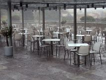 Outdoor Cafe, Heavy Rain Royalty Free Stock Images