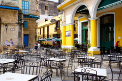 Outdoor cafe in historic Old Havana Stock Photos