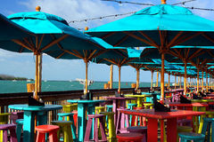 Outdoor cafe on the water Royalty Free Stock Photography