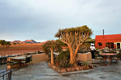 Outdoor cafe in lodge. Travel Africa Stock Image