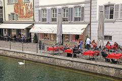 Outdoor cafe in Lucerne,Switzerland Stock Photography