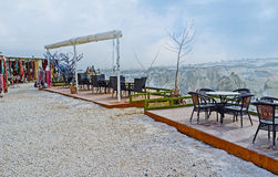 The outdoor cafe in mountains Stock Photo