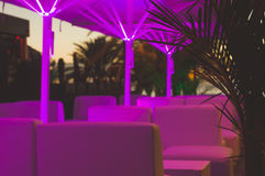 Outdoor cafe by night Stock Photography