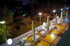 Outdoor cafe at night Stock Photography