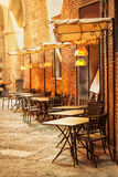 Outdoor cafe. On the old street. Siena, Italy Stock Photos