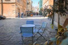 Outdoor cafe in the old town. royalty free stock images