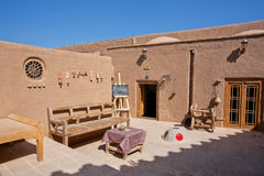Outdoor cafe in oriental style in historical desert town Royalty Free Stock Images