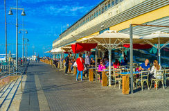 The outdoor cafe in port Stock Photos