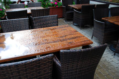 Outdoor cafe. In rainy weather Stock Photography