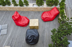 Outdoor cafe restaurant soft seats Stock Photography