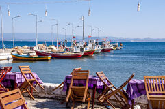 Outdoor cafe by sea Stock Image