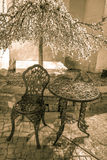 Outdoor Cafe Seating. Outdoor seating under a flowering tree in vertical orientation Royalty Free Stock Photos