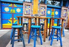 Outdoor cafe seats Royalty Free Stock Photos