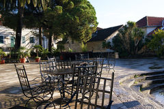 Outdoor cafe. Cafe on the Square in Herceg Novi (Montenegro Stock Photo
