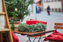 Outdoor cafe in Strasbourg decorated for Christmas Royalty Free Stock Photos